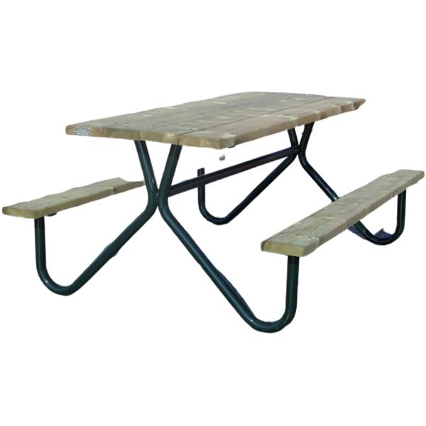 mesa de madera y tubo de sergin mobiliario urbano